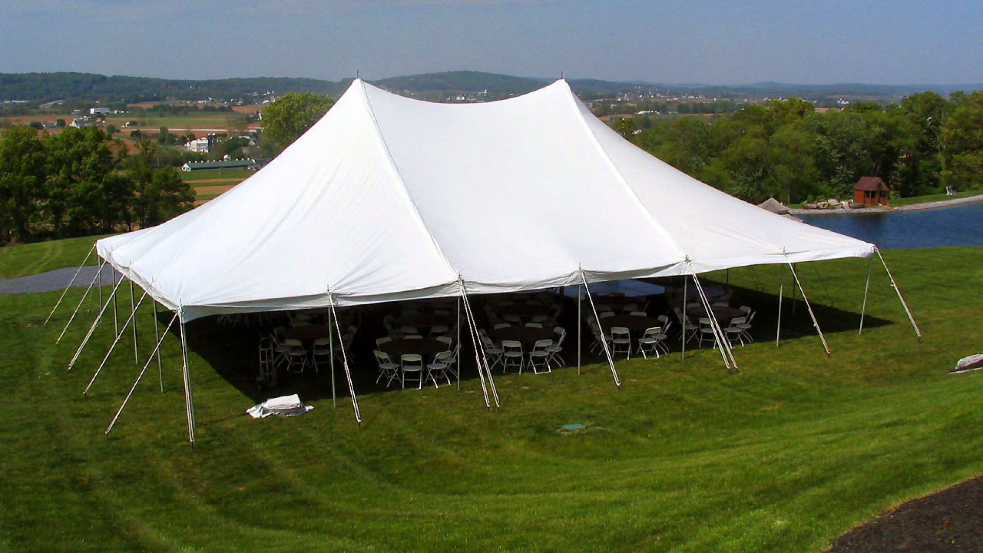 Beautiful white pole tent for rent in Enola, PA