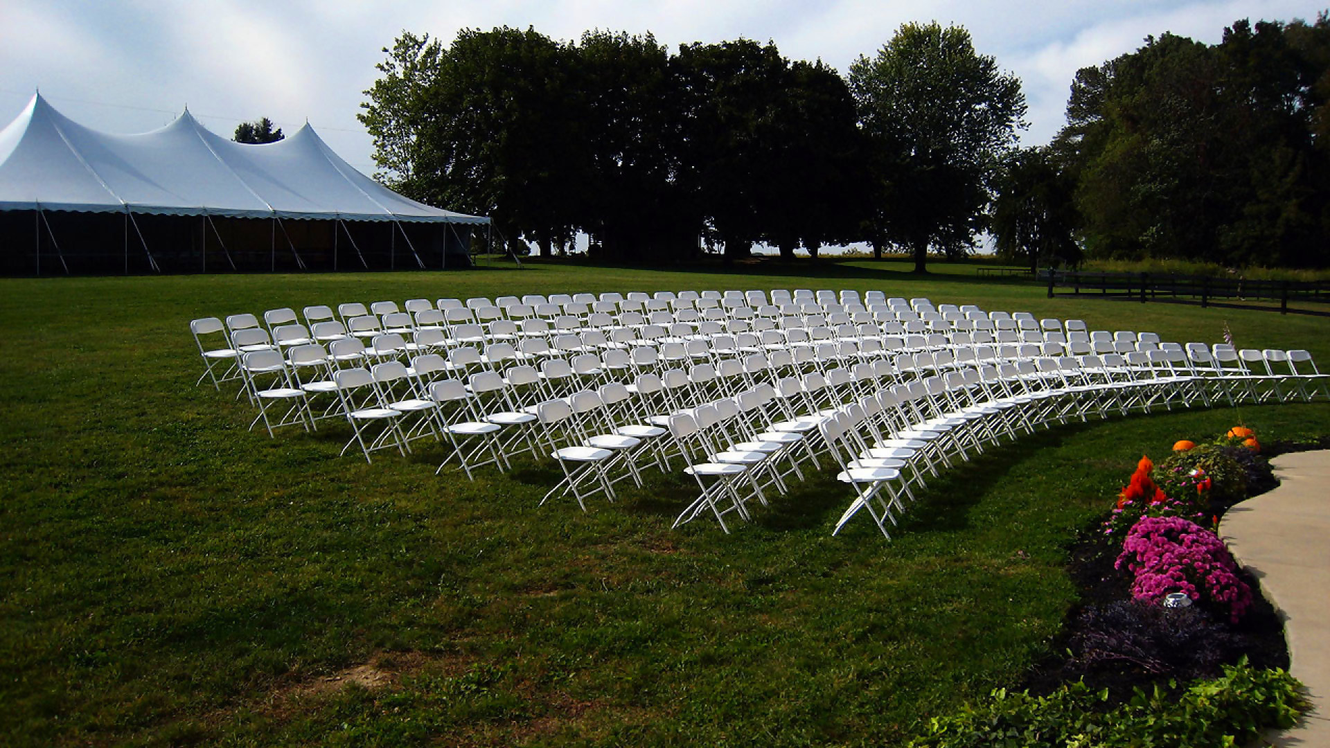 Comfortable white folding chairs for rent in Enola, PA
