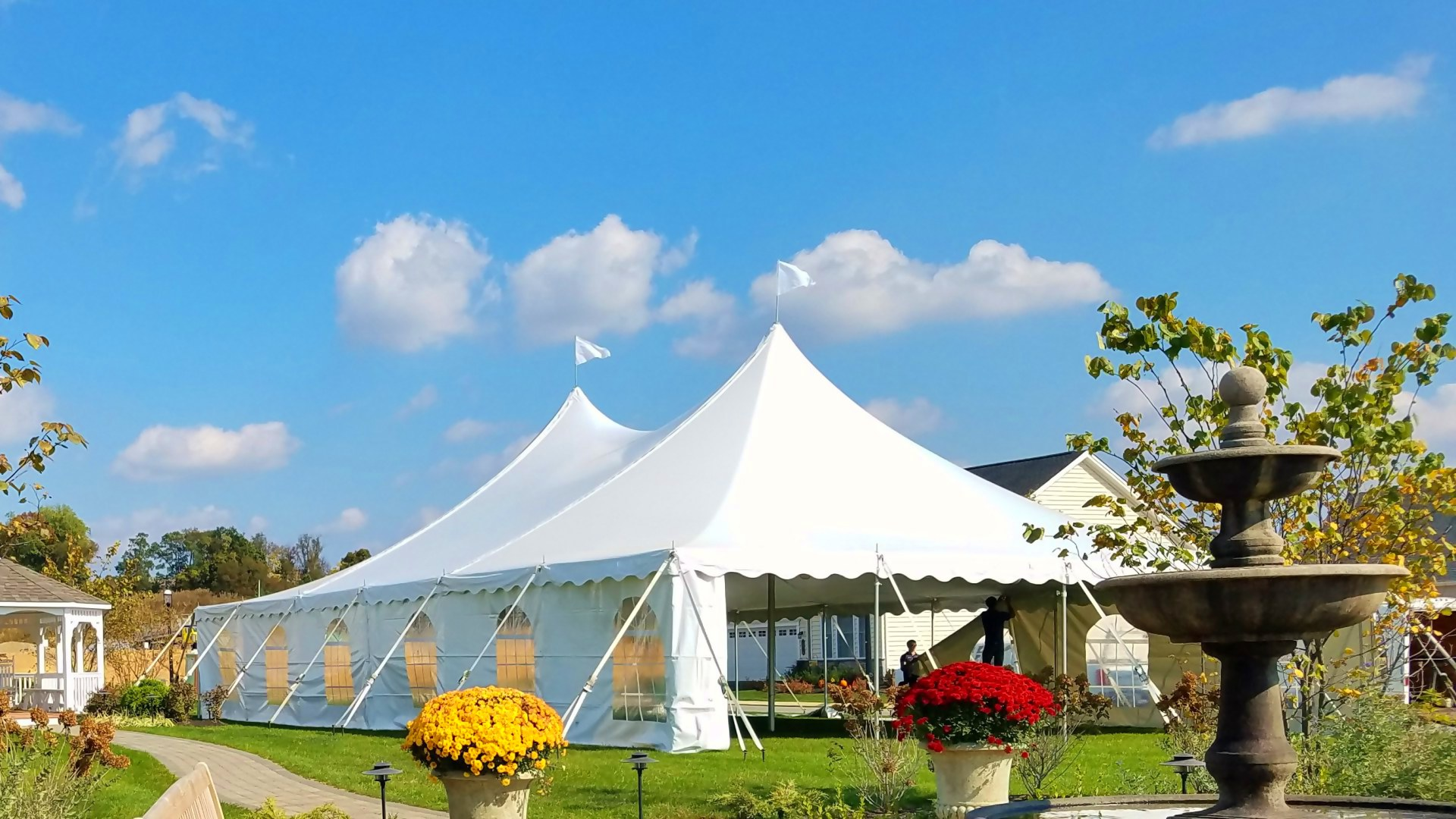 Nice white tent with cathedral window sidewalls for rent in Camp Hill, PA