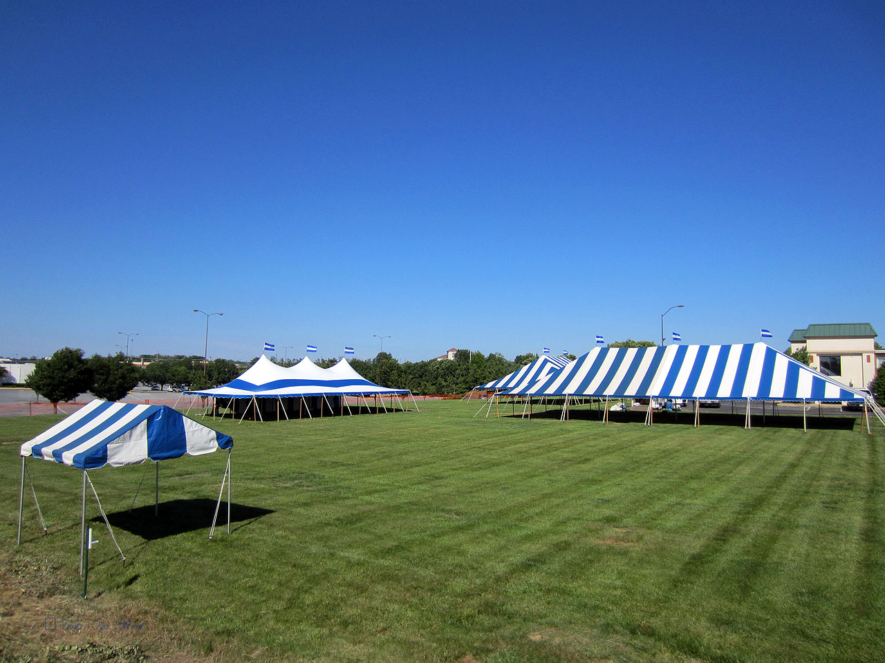 Blue stripe party tents for rent in Camp Hill, PA