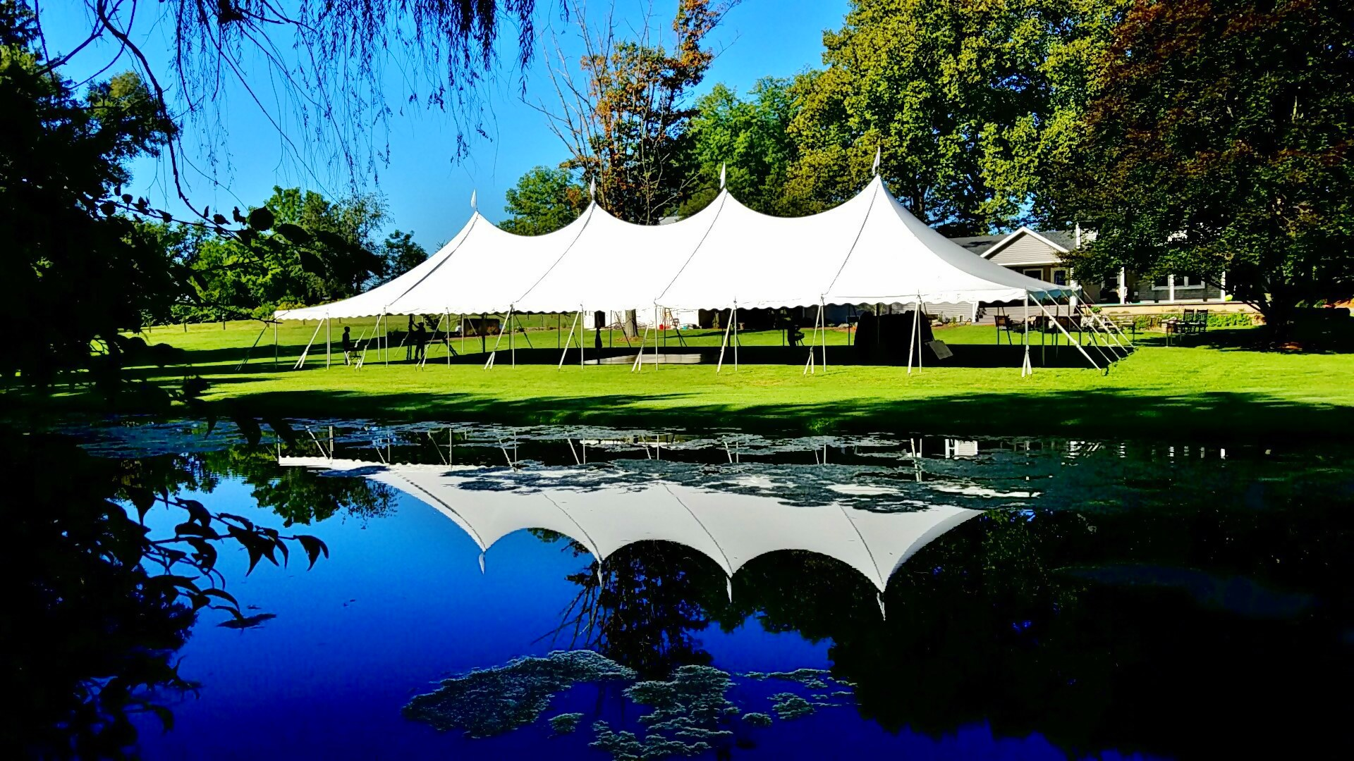 Nice, large white pole tent for rent in Radnor, PA