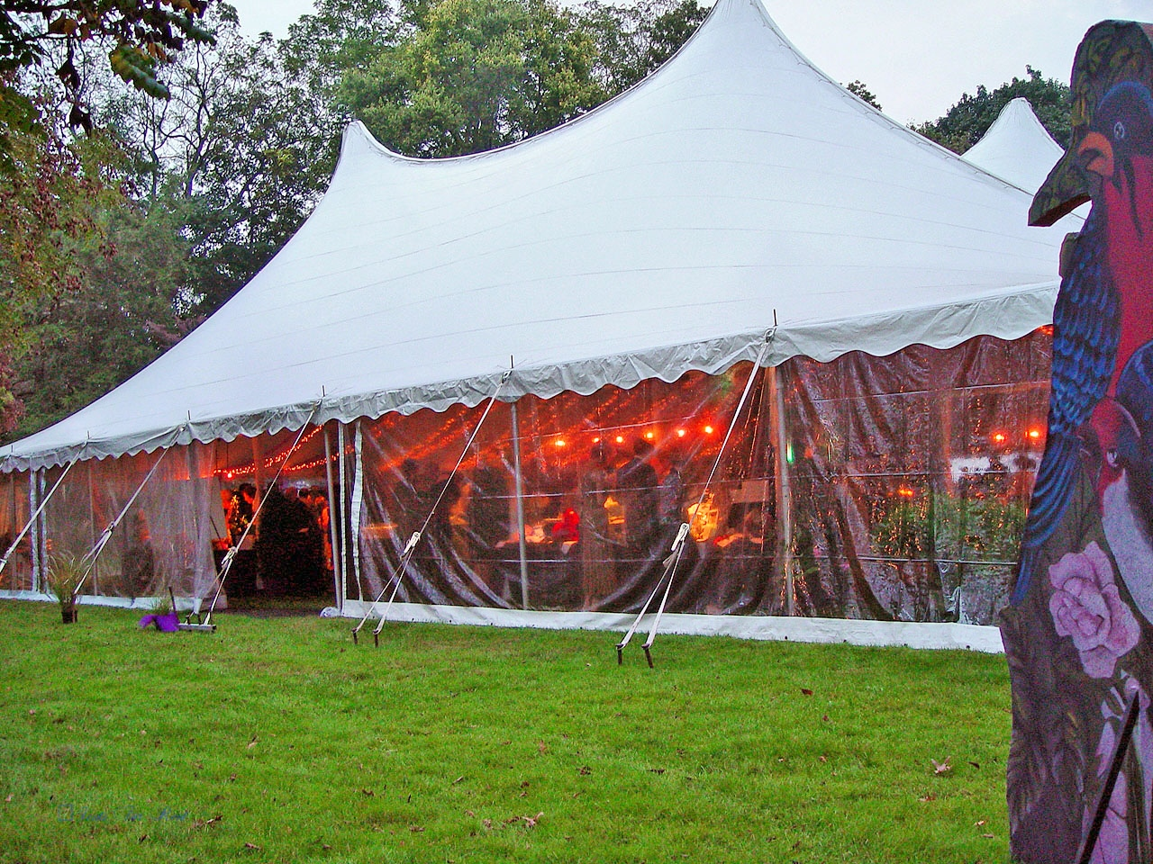 White pole tent with clear sidewalls for rent in Radnor, PA