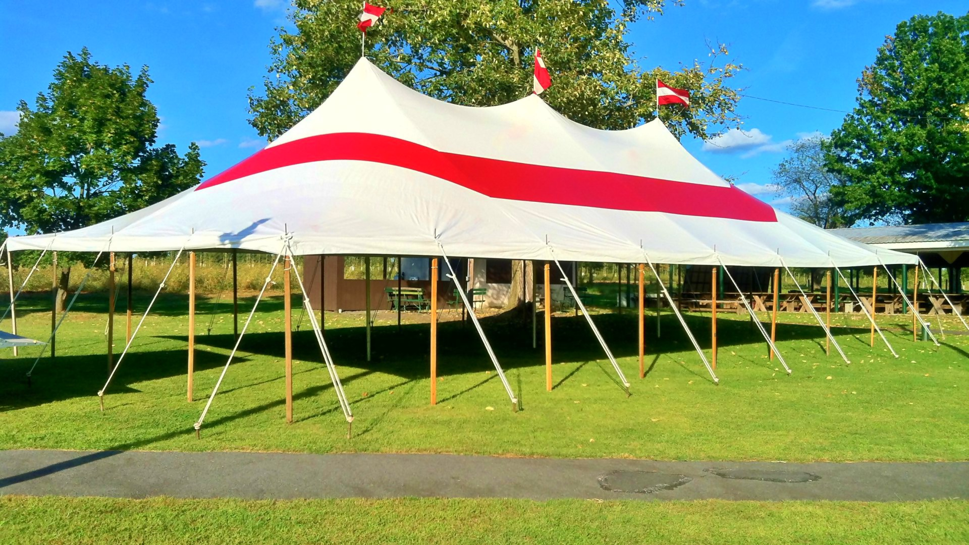 Nice red stripe party tent for rent in Radnor, PA