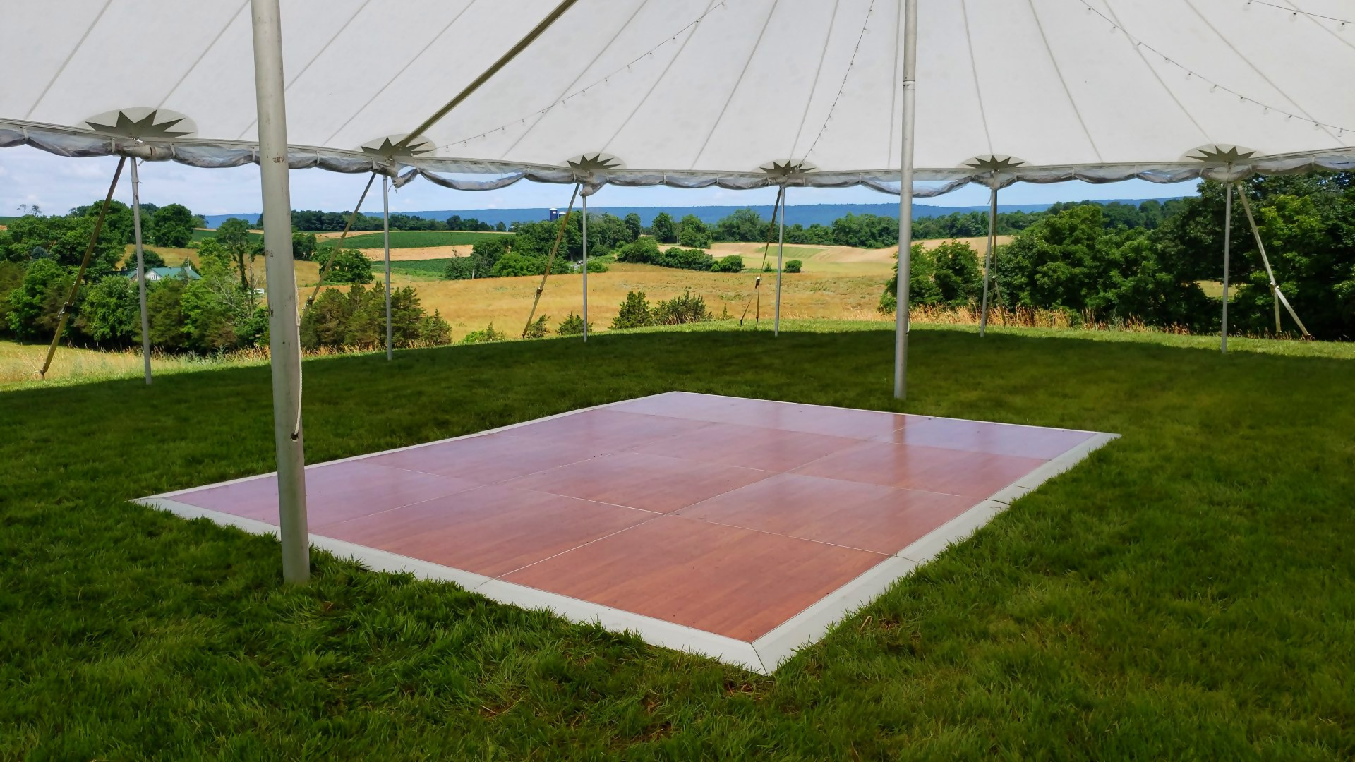 Beautiful cherry dance floor for rent in Kennett Square, PA