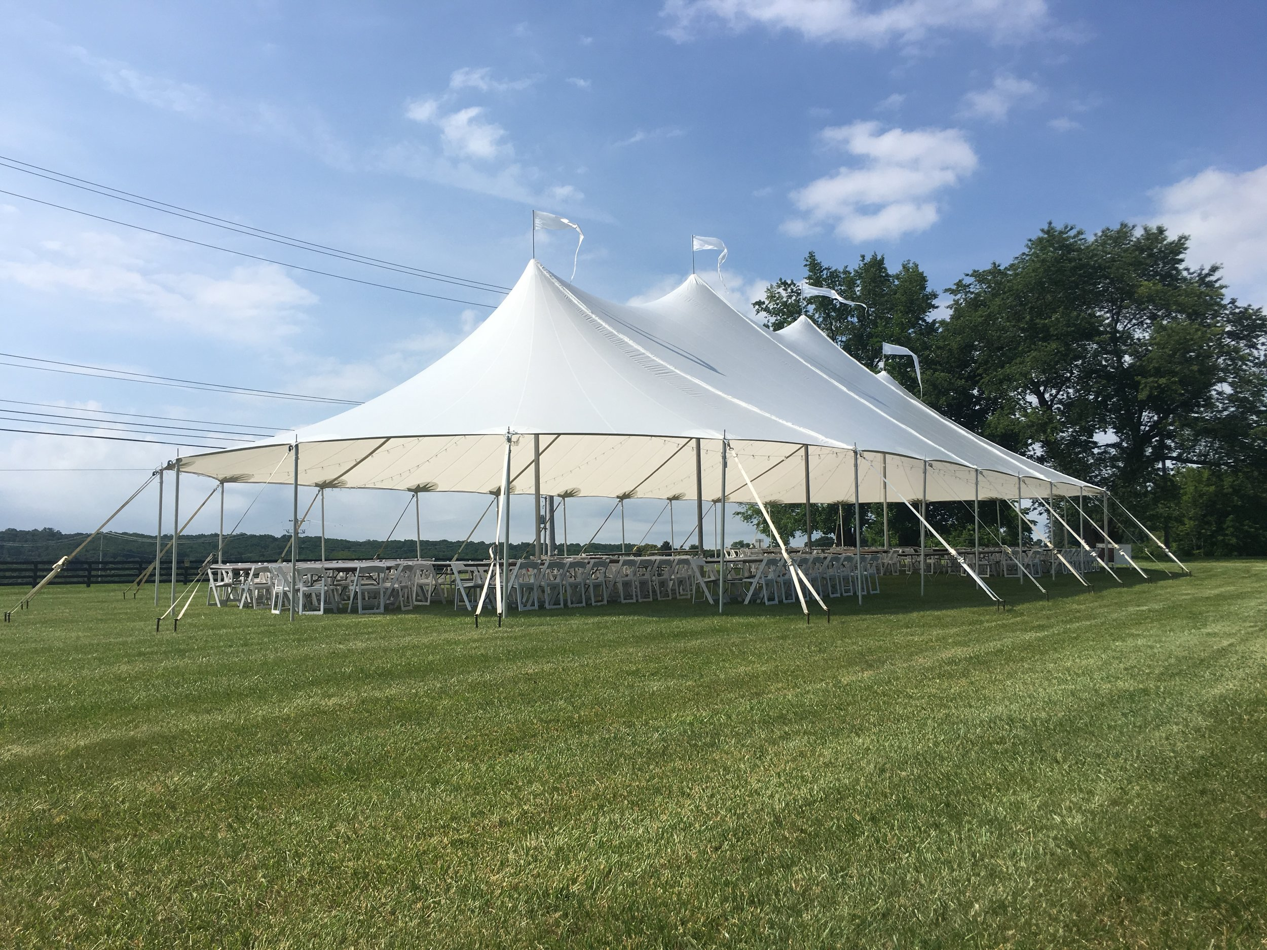 Gorgeous sailcloth tent for rent in Palmyra, PA