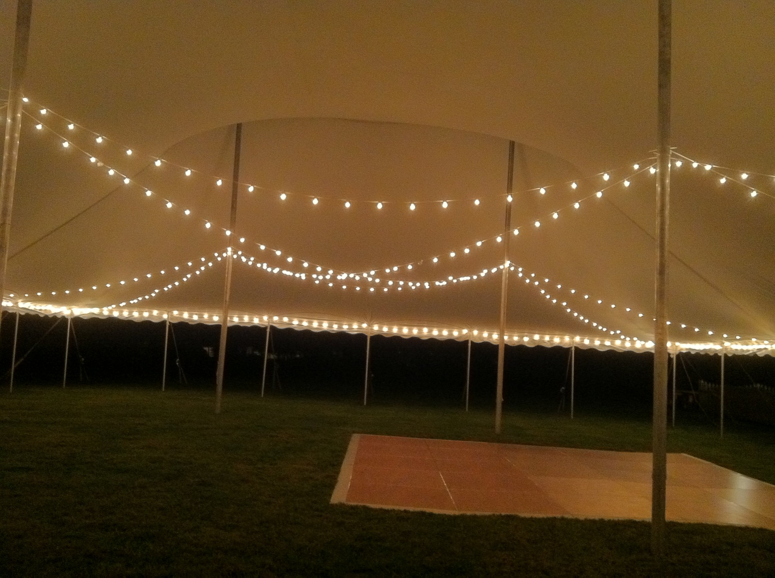 Nice cherry dance floor and cafe lights available for rent in Palmyra, PA