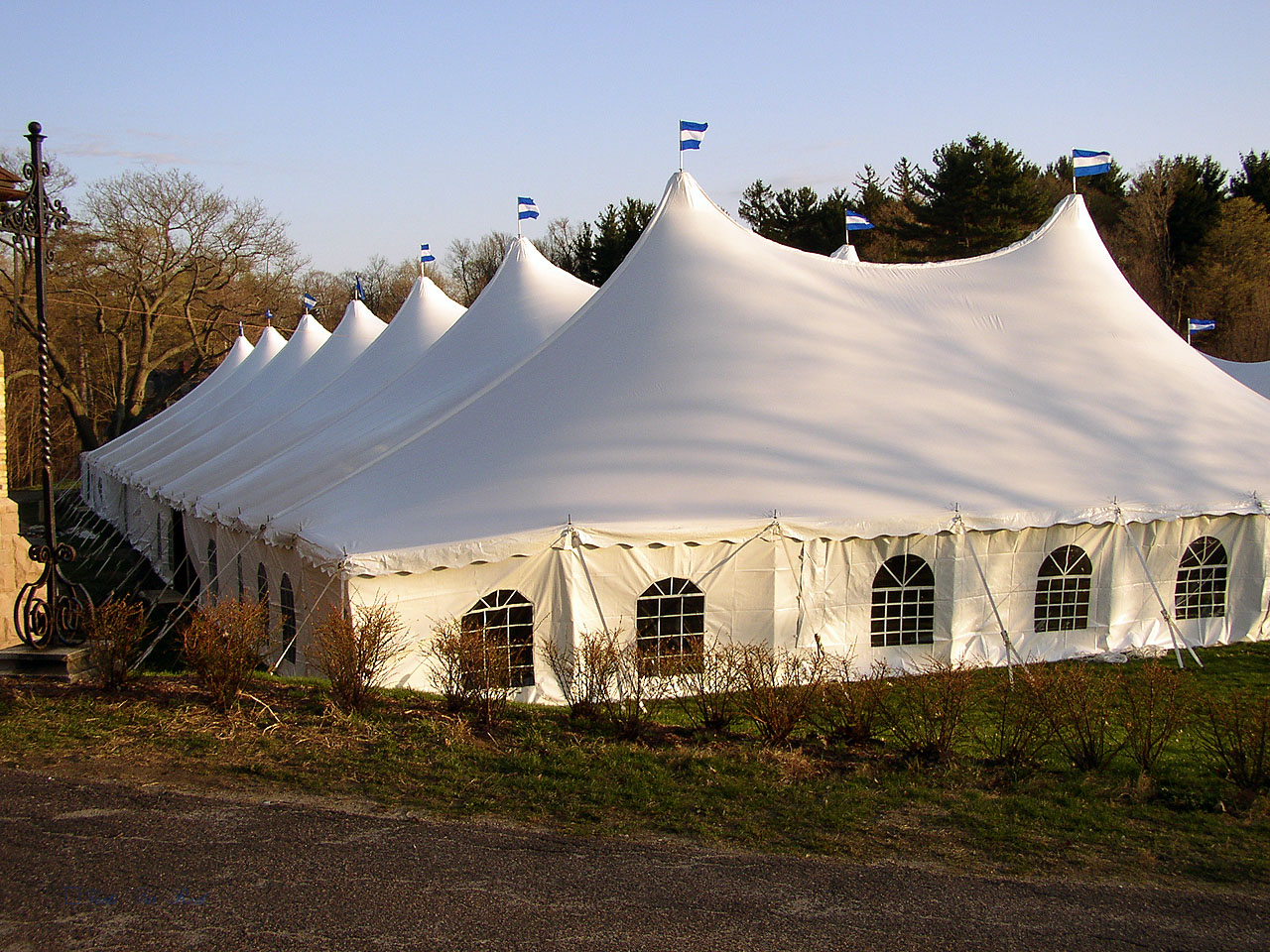 Large white tent with cathedral window sidewalls for rent in Palmyra, PA