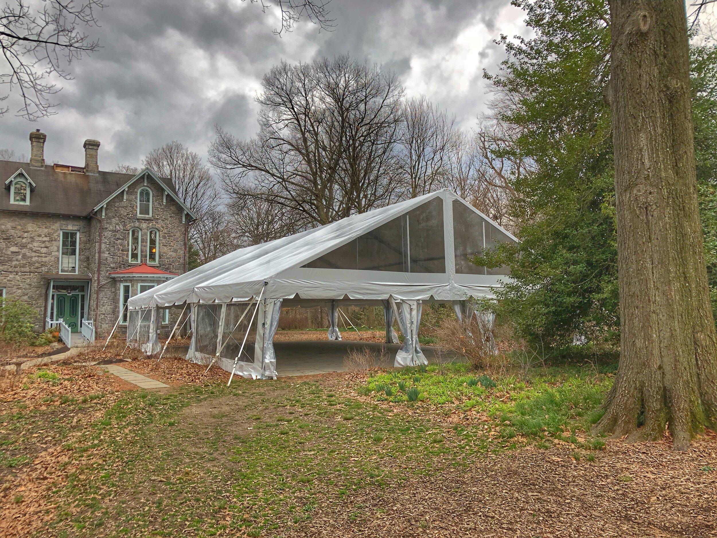 Wedding venue tent installation