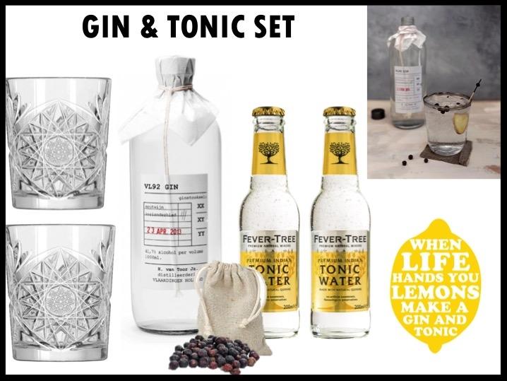 De Gin Tonic is en blijft hot! Met deze set maak je in een handomdraai de lekkerste Gin Tonic. De set bestaat uit: Fles VL92 Gin (500 ml), 2 Fever Tree tonic, 2 Libbey Hobstar-glazen (355 ml) en linnen zakje met jeneverbessen. Prijs per stuk €42,50. Vanaf 50 stuks te bestellen.