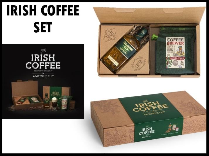 Met deze luxe giftset maak je tien glazen Irish Coffee volgens traditioneel recept. De set bestaat uit bruine suiker (150 gr), Irish whiskey (350 ml), slagroom (200 ml) en vijf coffee brewers. Kan gemaakt worden met eigen design sleeve. Prijs per stuk: €31,00. Vanaf 50 stuks te bestellen.