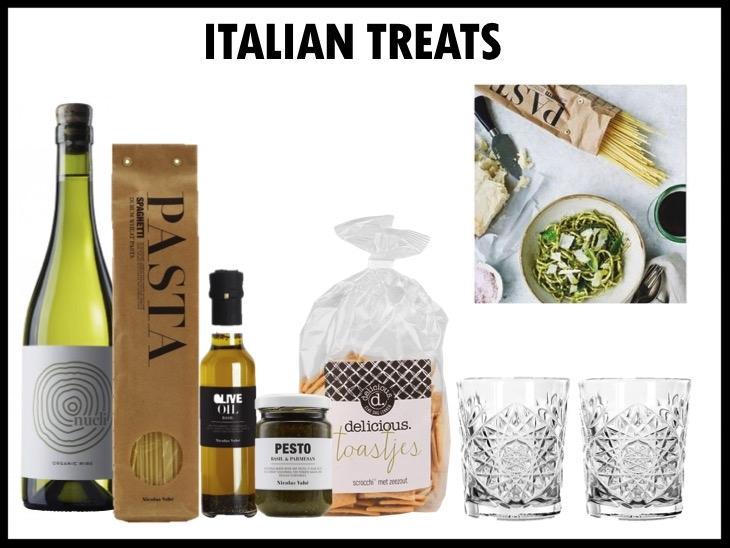 Geniet van heerlijke Italian treats met deze Italiaanse set. De set bestaat uit: Neleman Nucli Blanco Organic 2016, Nicolas Vahé Spaghetti (500 gr), Nicolas Vahé olijfolie (25 cl) en heerlijke pesto van Nicolas Vahé voor bij de pesto. Daarbij krijg je 2 Libbey Hobstar glazen (355 ml) en lekkere toastjes (200 gr) om het helemaal af te maken. Prijs per stuk €37,50. Vanaf 50 stuks te bestellen.