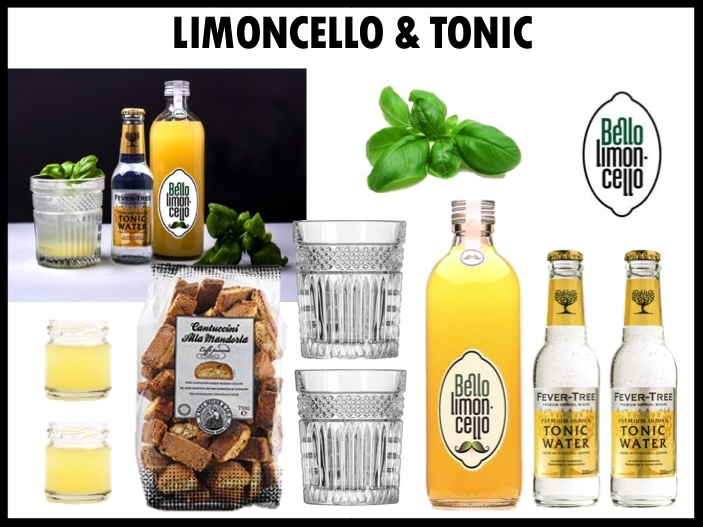 Op zoek naar een hip en trendy relatiegeschenk? De Tonicello is dé nieuwe cocktail bestaande uit limoncello en tonic! De set bestaat uit: Bello Limoncello (50 cl), heerlijke Italiaanse cantuccini's, twee flesjes Fever Tree tonic, twee mooie geslepen Libbey Rocks glazen en 2 shotglaasjes. Prijs per stuk: €39,00. Vanaf 50 stuks te bestellen.
