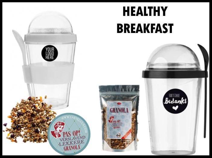 Begin je dag goed met dit gezonde meeneem ontbijtje bestaande uit een yoghurtbeker en overheerlijke granola. De yoghurtbeker kan bedrukt worden met tekst of logo in 1 kleur.  Prijs per stuk bij 250 zonder verpakking € 4,75 exclusief BTW.
