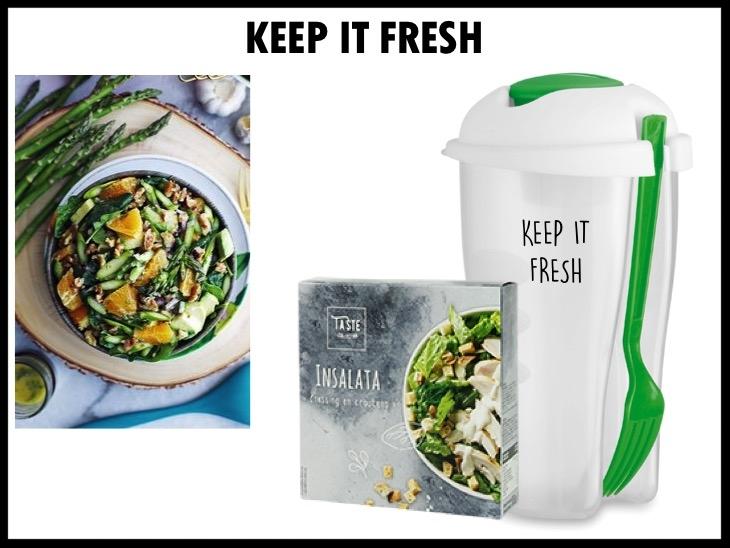 Keep it fresh! Saladebeker met een inhoud van 750 ml, inclusief vork en ingebouwd bakje voor dressing. Daarbij krijg je een setje bestaande uit een salade dressing en croutons om je salade extra lekker te maken. De beker kan worden bedrukt met logo in 1 kleur.  Prijs per stuk bij 500 stuks inclusief cadeautasje en kaart €4,85 exclusief BTW.