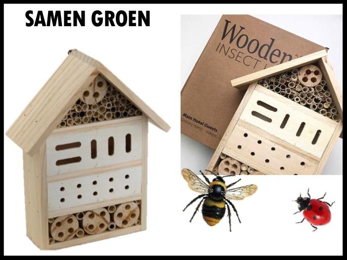 Samen gaan we voor groen! Houten insectenhotel dat onderdak biedt aan diverse insecten zoals vlinders, bijen, wespen en lieveheersbeestjes. Een warme en beschutte plaats om de insecten te laten overwinteren. Het insectenhotel is verpakt in een mooie kraft doos.  Prijs per stuk bij 300 stuks €4,50 exclusief BTW.