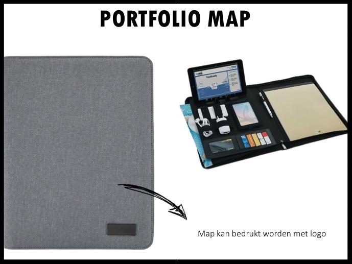 Get organized met deze handige A4-porfoliomap. De map bevat een easy on/off telefoon of tablet standaard, telefoon houder met doorkijkvenster. Gadget vakjes voor bijvoorbeeld usb, oplaadkabel & powerbank en 5 vakken voor visitekaartjes en ID. Ruim insteekvak aan voorzijde voor documenten of tablet. Aan de achterkant extra insteekvak met ritssluiting voor documenten of iPad / tablet. Geschikt voor alle iPad, Android en Microsoft Windows- tablets. Inclusief A4 notitieblok van gerecycled papier. Prijs per stuk vanaf 50 stuks €30,00 exclusief BTW.