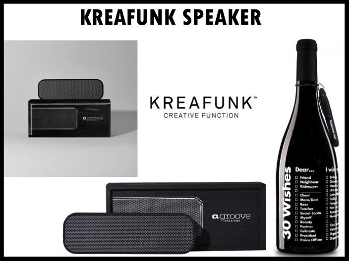 Een hip en origineel geschenk om te geven is de Kreafunk aGroove bluetooth speaker en 30 Wishes wijn van Neleman. De moderne speaker van Kreafunk is door zijn ronde lijnen en simpele vormgeving een ware toevoeging aan ieder interieur! Let's hear that sound! Prijs per stuk vanaf 50 stuks €60,- exclusief BTW.