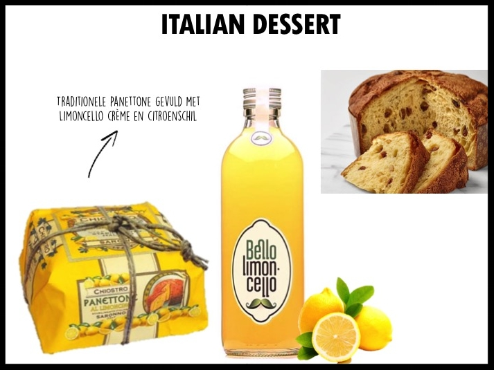Geef een traditioneel Italiaans dessert cadeau: Panettone (750 gram) gevuld met limoncello crème en citroenschil. Samen met een fles Bello Limoncello (50 cl).