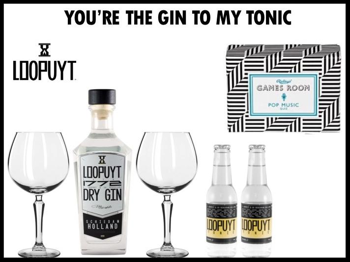 Mooi Gin Tonic set bestaande uit Loopuyt Gin, twee Loopuyt tonics, twee Libbey gin glazen en een Ridley's spel naar keuze.