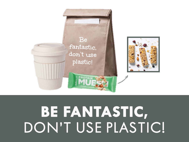 Be fantastic, don't use plastic! Een originele en duurzame set met daarin alles wat je nodig hebt om de dag goed te beginnen. De set bestaat uit een eco bamboo koffiebeker (te bedrukken met logo), een lunchbag (te bedrukken met logo) en een healthy muesli reep. Zo starten jouw medewerkers de dag gezond!