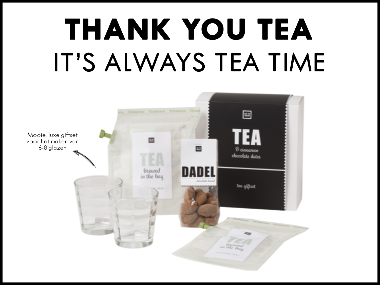 Geef je medewerkers een verwenmomentje cadeau met deze mooie theeset. De set bestaat uit twee theeglazen, twee zakjes Brewers cup instant thee en een zakje chocolade kaneel dadels van 120 gram.