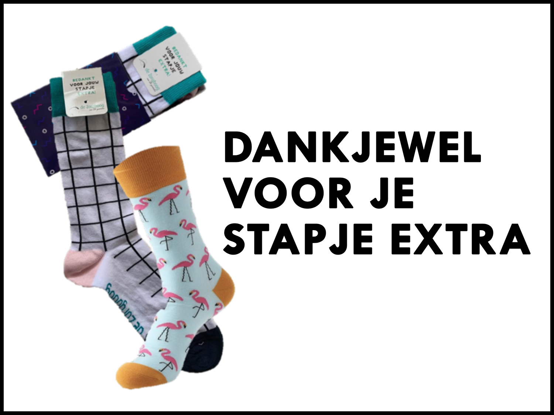 Bedankt voor je stapje extra! Hoe leuk is het om je medewerkers gepersonaliseerde sokken cadeau te geven voor de echte team spirit! De sokken zijn geheel te voorzien van een eigen design.