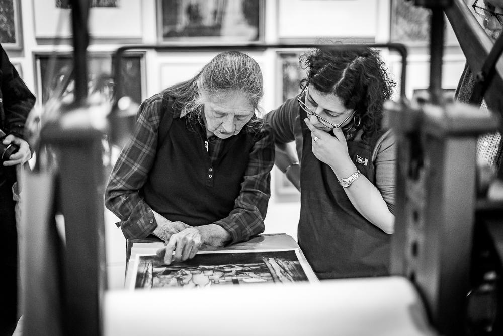 Printmaking with artist Frances Walker RSA and printer Leena Nammari