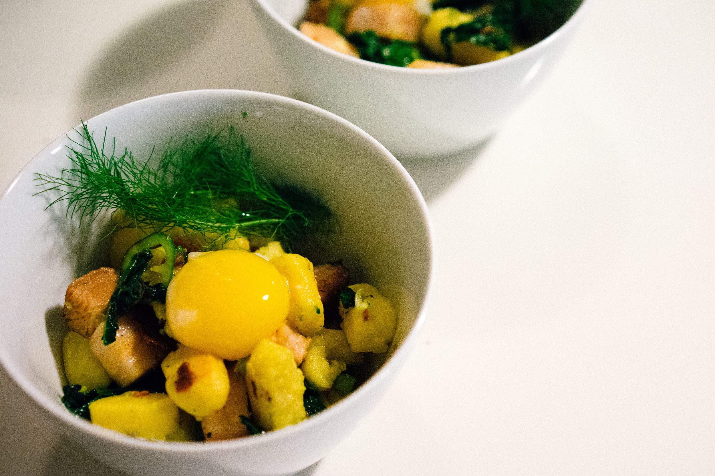 Third Course: Pan Fried Gnocchi with Sous Vide Pork Belly, Broccoli Rabe, and Egg Yolk