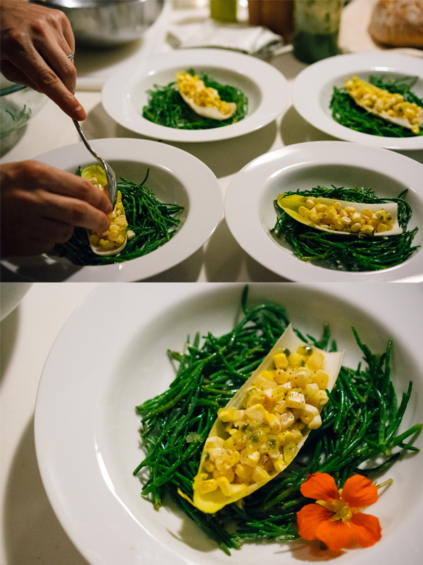Fourth Course: Grilled Corn with Passion Fruit served over Sea Bean Salad.