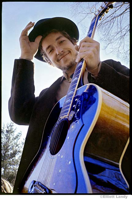 Bob Dylan, at his Byrdcliffe home, Nashville Skyline album cover, Woodstock, NY, 1969. Photo By ©Elliott Landy, LandyVision Inc.   Sold