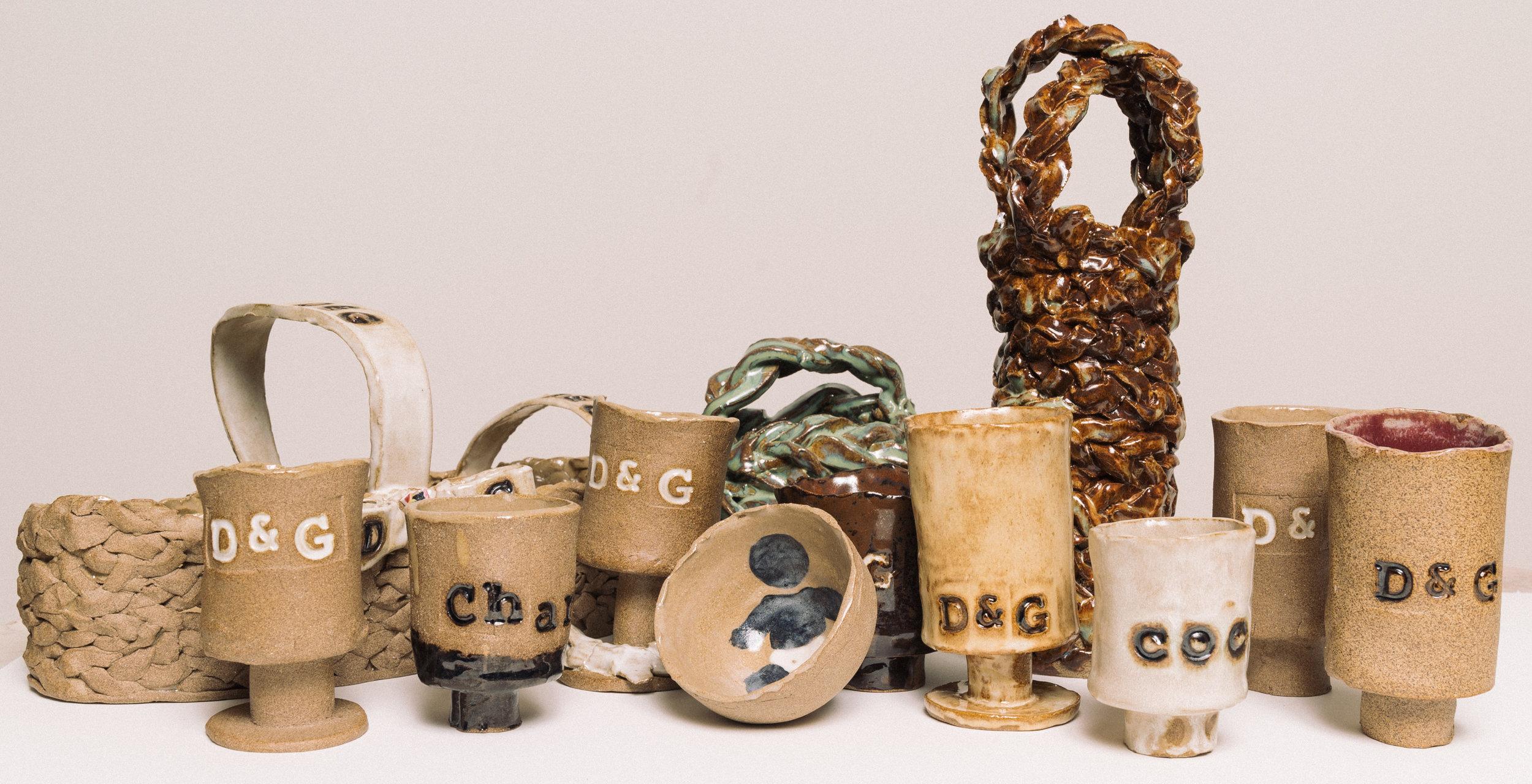 Ceramic Goblets, Baskets, and bowls