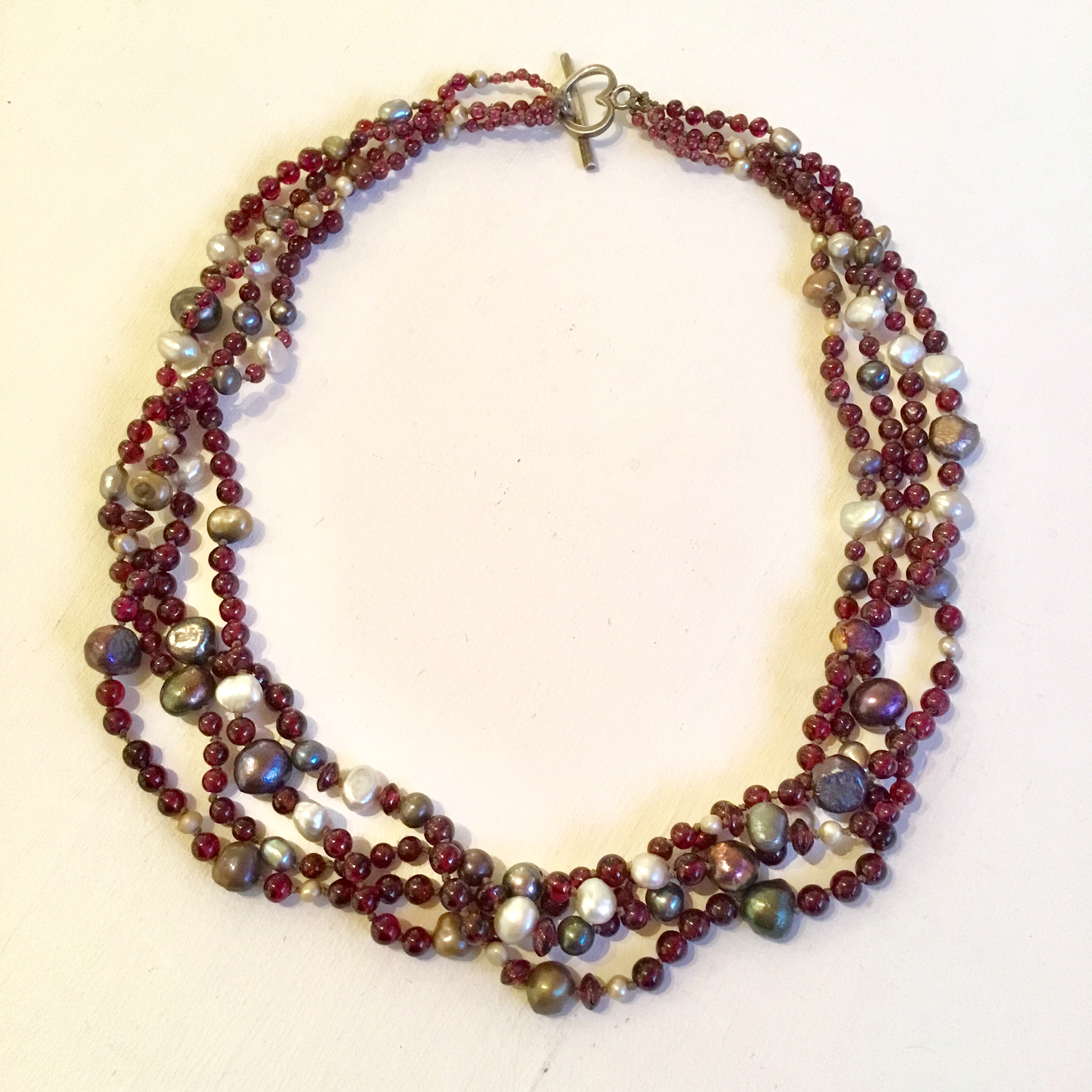 """Four strand garnet & pearl necklace with sterling silver clasp 16 1/2"""""""
