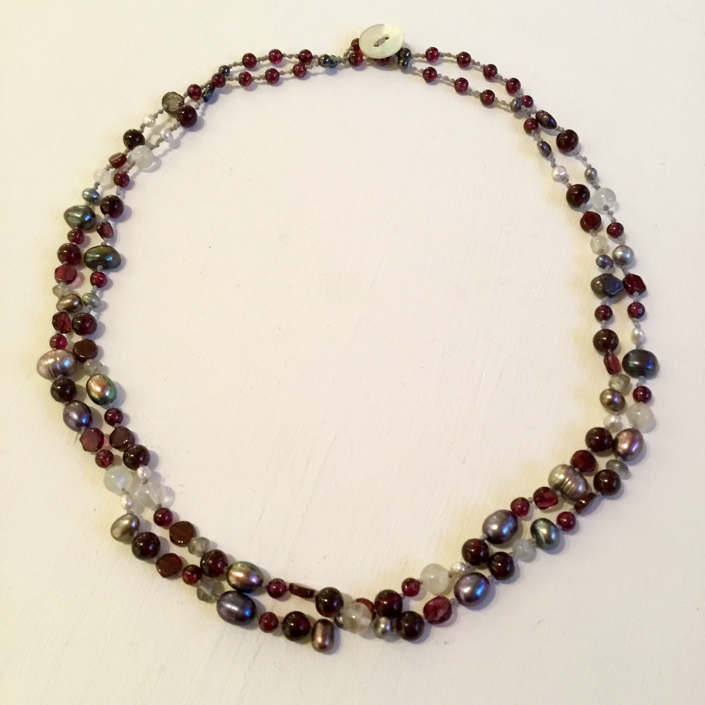 """Two strand garnet, moonstone & pearls necklace 18"""""""