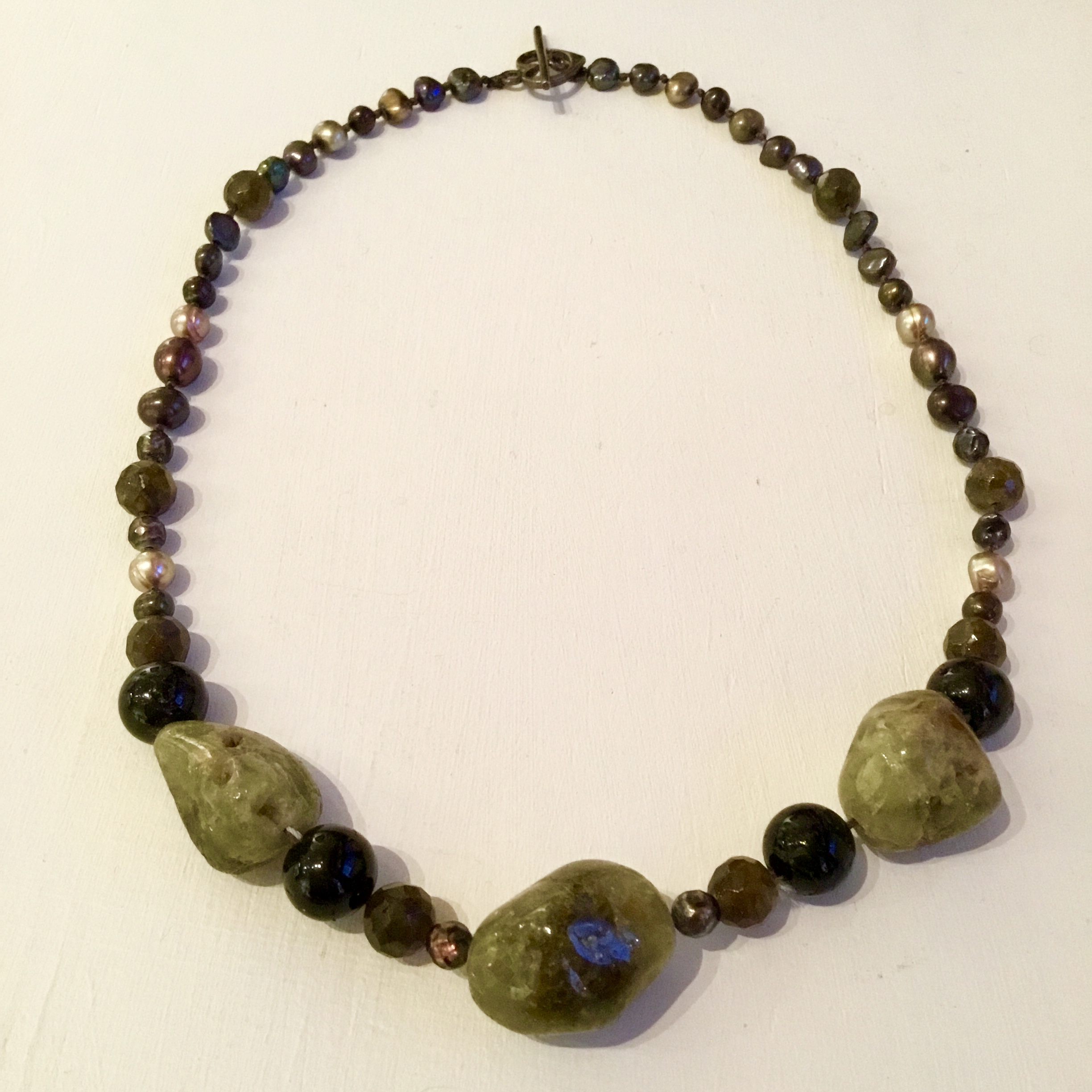 """Green garnet, black tourmaline, labradorite & pearl necklace with sterling silver clasp 17 1/2"""""""