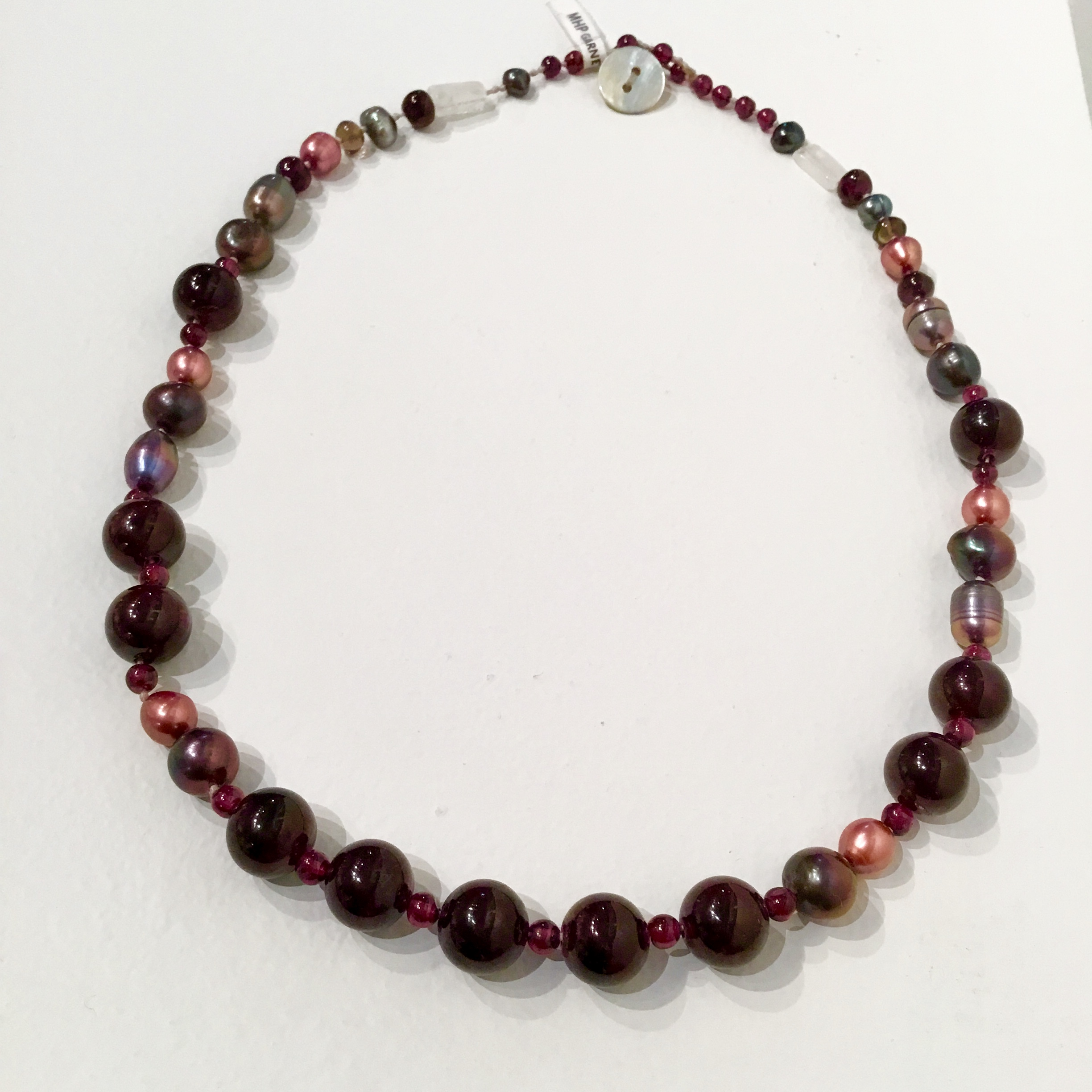 """Garnet, pearl & moonstone necklace with sterling silver clasp 18 1/2"""""""