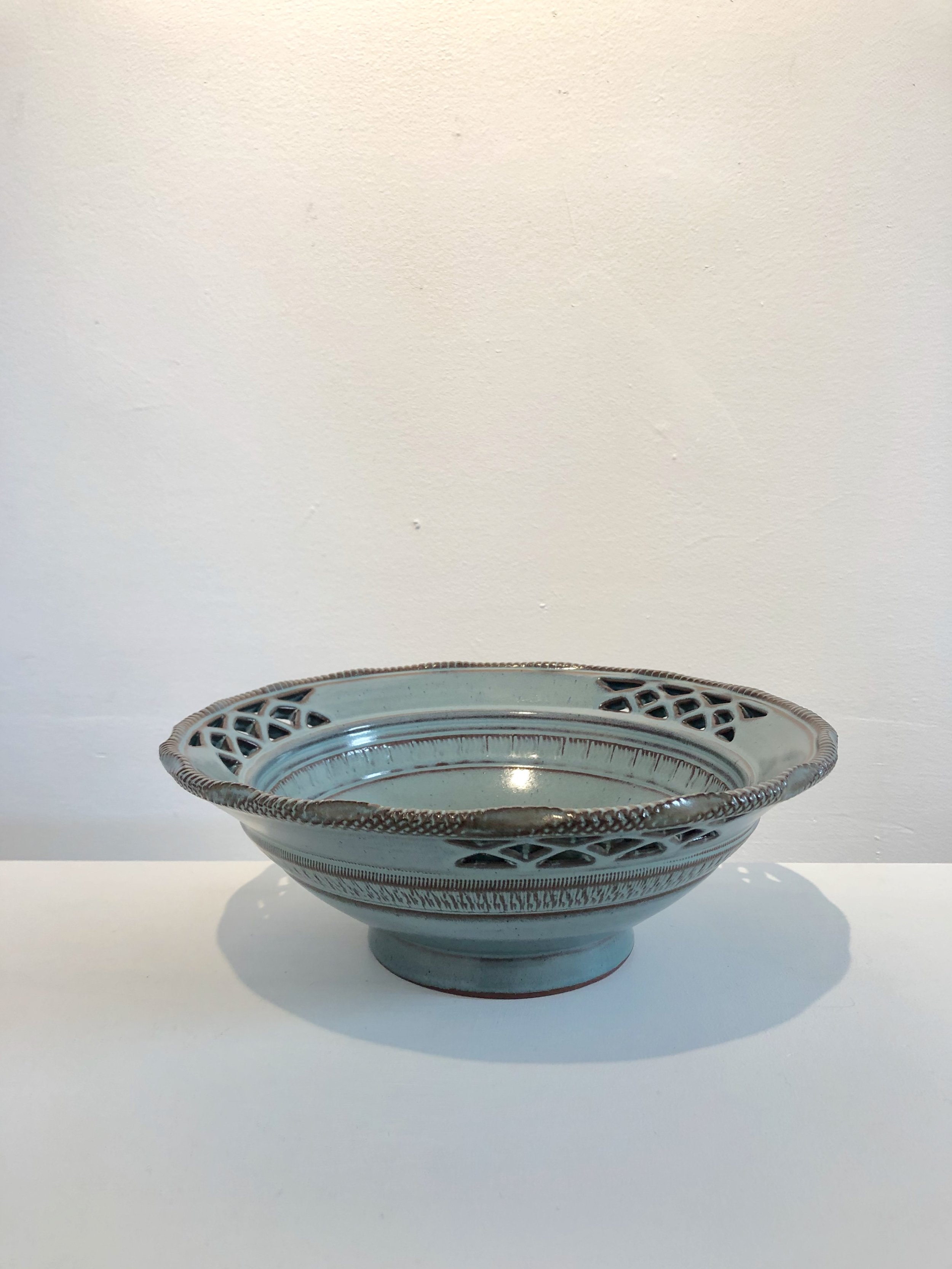 Blue grey ceramic bowl