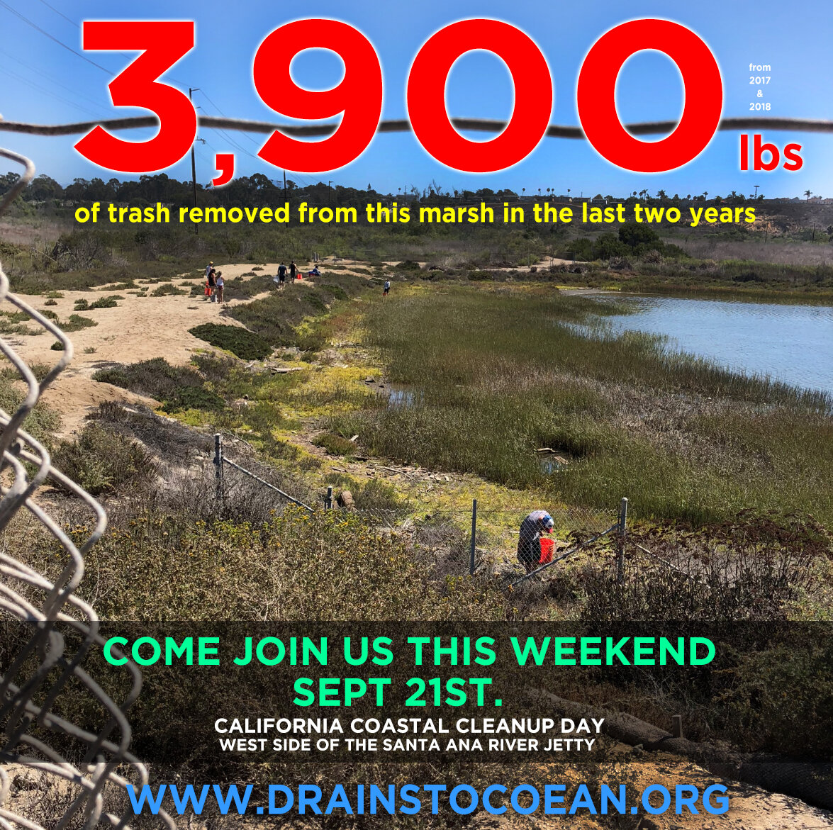Did you know that local Volunteers pulled out just over 3,900 lbs of trash from the Santa Ana River Marsh in the last two years? It's true. Come join us this Saturday from 8a-12noon. The cleanup is located along the West Side (Inland) of the Santa Ana River, right before the PCH Bridge. Basically right before the west side of the Santa Ana River Bike Trail meets PCH. Look for the tents to sign in. A big thank you to U.S. Army Corp of Engineers, OC Earth Stewards, Drains to Ocean, Sierra Club Angeles Chapter, Orange County Conservation Committee, Republic Services, Banning Ranch Park, Preserve Task Force, & Orange County Coastkeeper for supporting this much needed annual cleanup. More info can be found at:  www.drainstoocean.org/news  #drainstoocean #ocearthstewards #sierraclub, #usarmycorpofengineers #ocearthstewards #republicservices #occonservationcommittee, #banningranch, #preservetaskforce, #occoaskkeeper