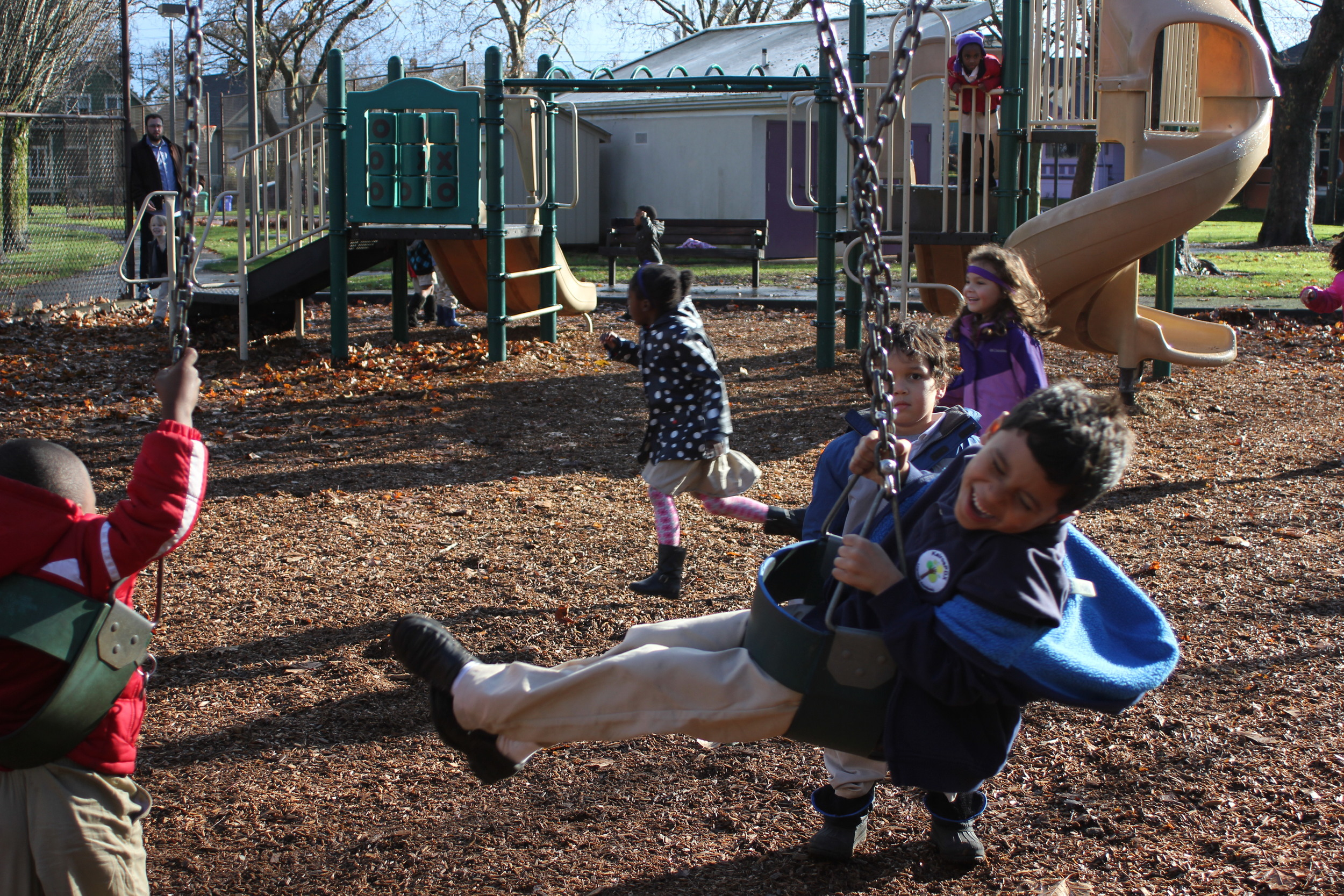 Students swinging at Unthank Park