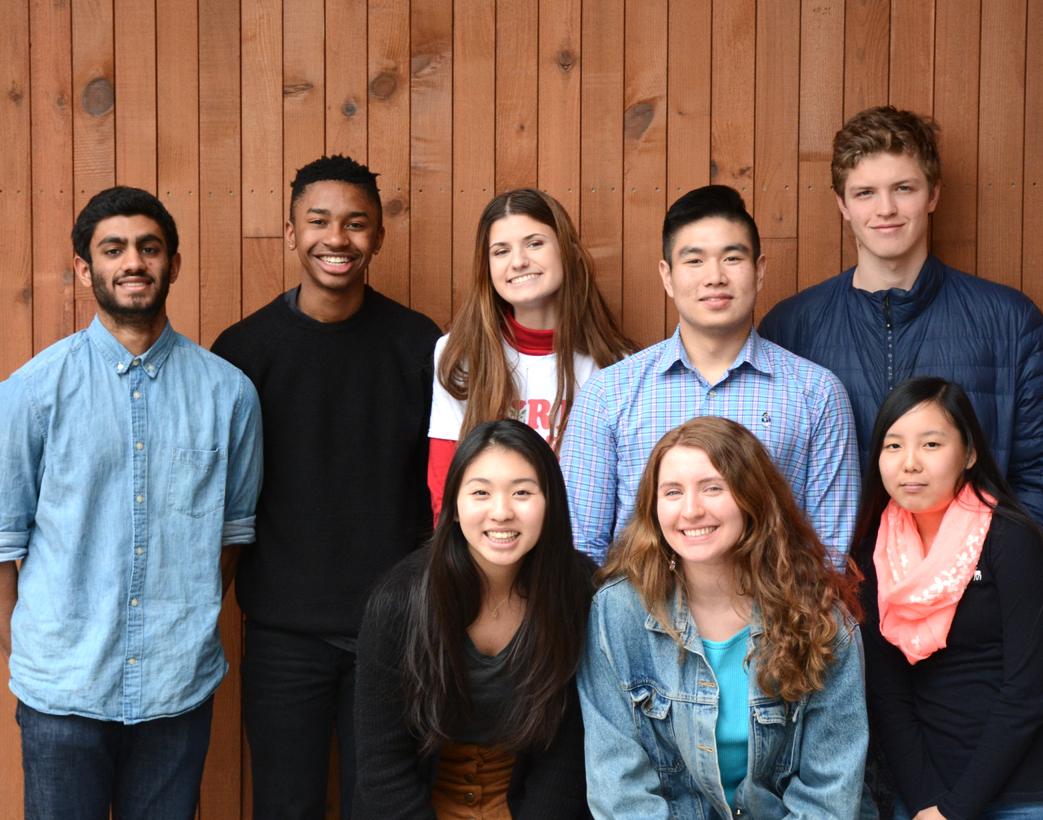 From Left to Right: (back row) Vikram Nallakrishnan (18), Tyler White (16), Bailey Sneed (16), Andrew Park (18) and Luke Van-Buskirk (17) (front row) Grace Wong (18), Hannah Davis (18) and Yabeen Kim (16)