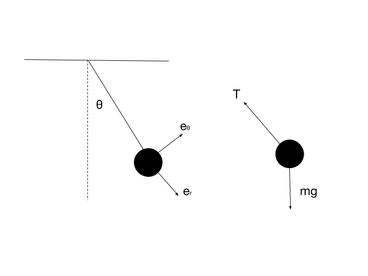 Figure 1. A single pendulum (left) and the corresponding FBD (right).