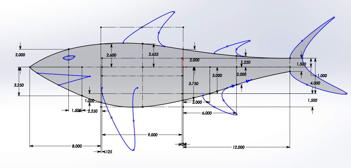 Figure 5: Original layout sketch used to determine proportions based on required pressure hull size and desired body proportions