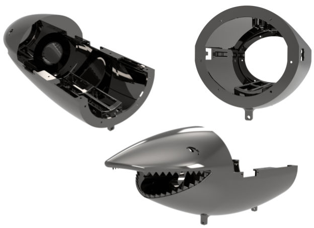 Figure 6: Shark body is comprised of the cosmetic head, and the top and bottom shells. The bottom shell                                 connects the tail and head of the robot and is the mounting point of the pressure hull