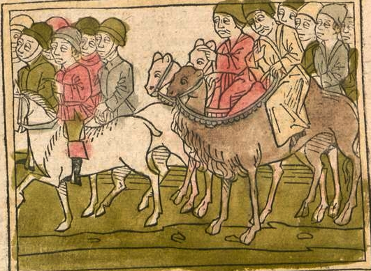 A Timurid delegation to the Golden Horde. From Johannes Schiltberger's Reisebuch, Augsburg printing, ca. 1477.