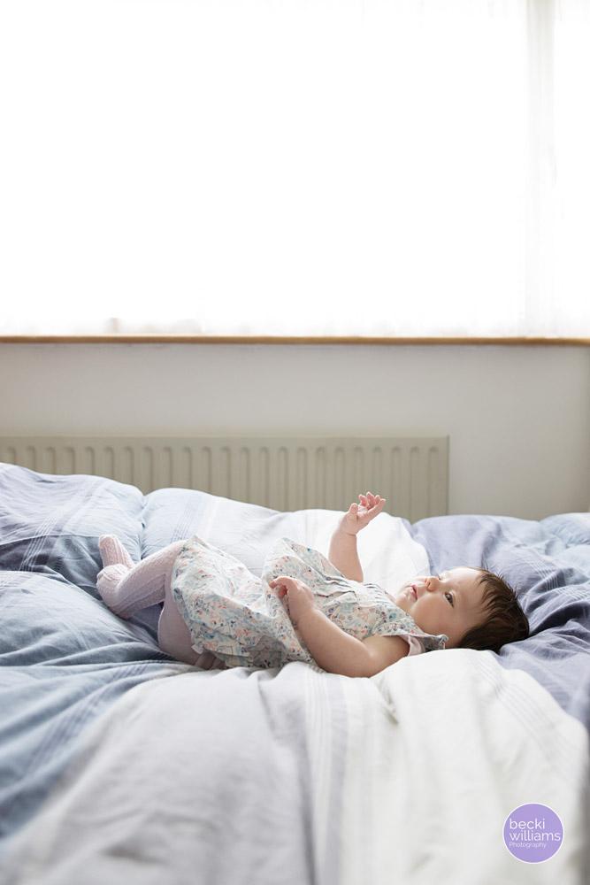 Baby Photographer Hemel Hempstead - baby on bed