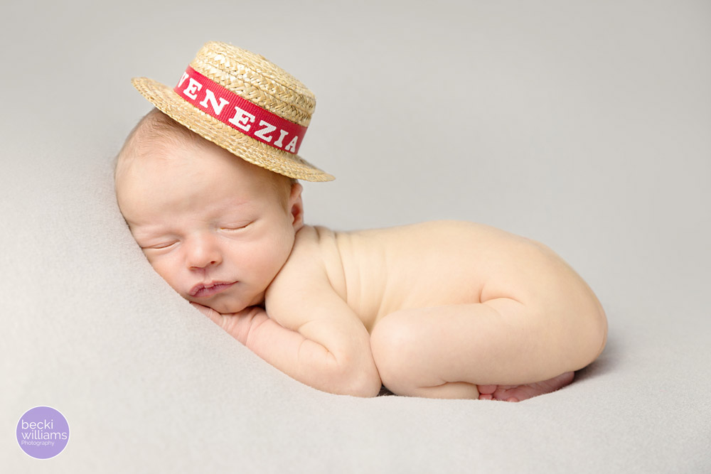 Newborn photos St Albans - on tummy, italian