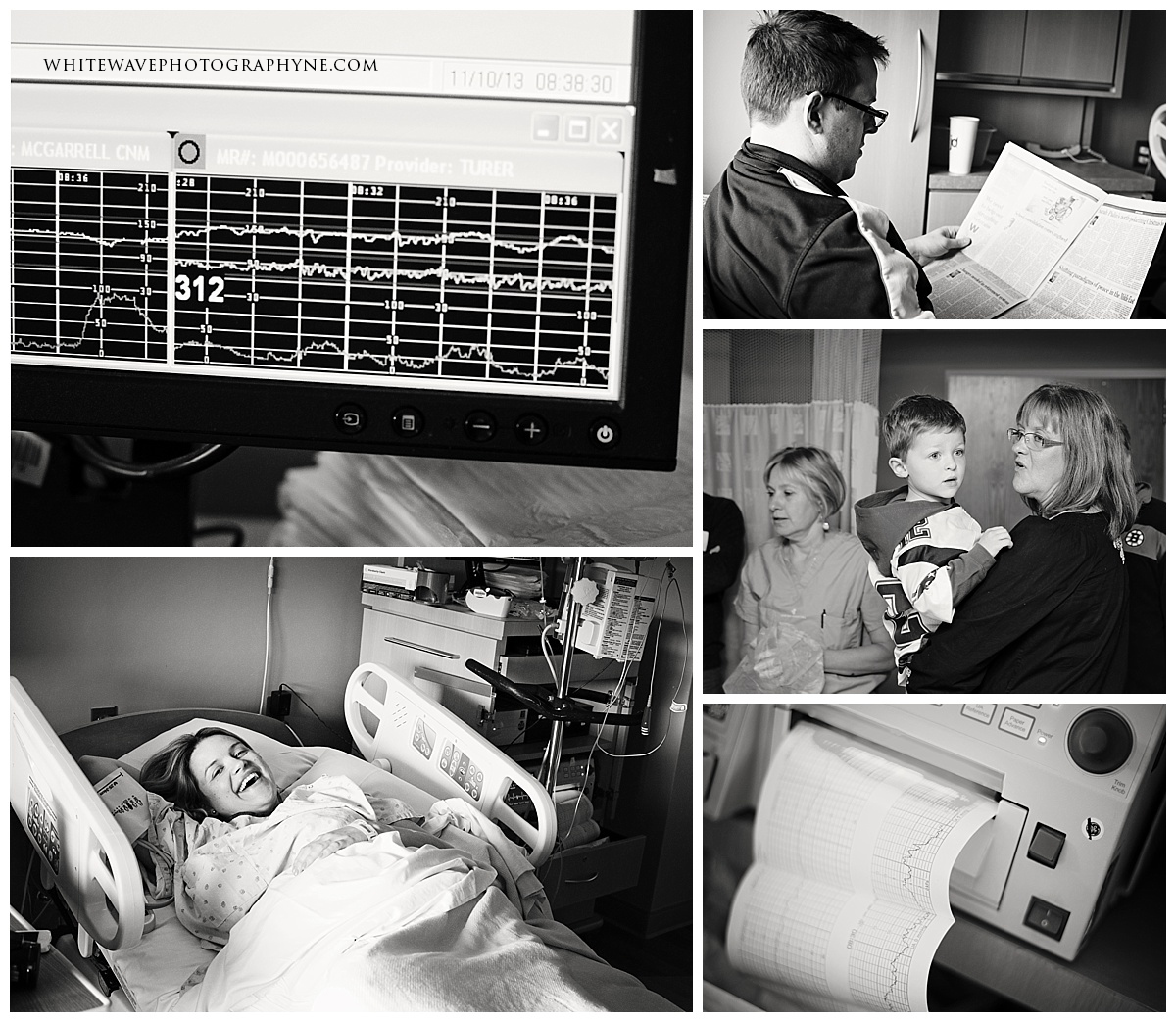 a collection of images of behind the scenes in a hospital labor room as a mum lays in labor.