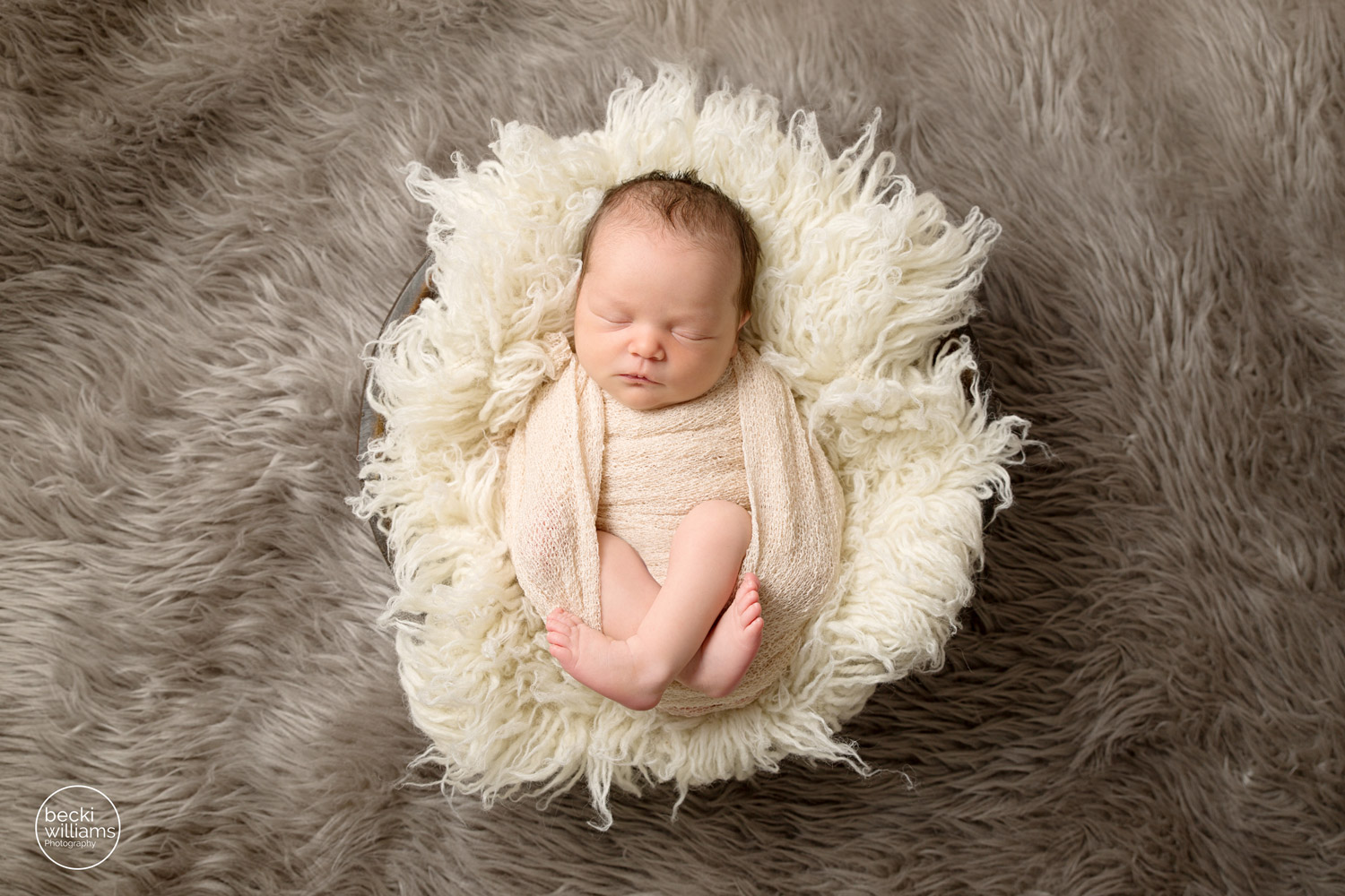 newborn pictures st albans, wrapped baby on fur in bowl