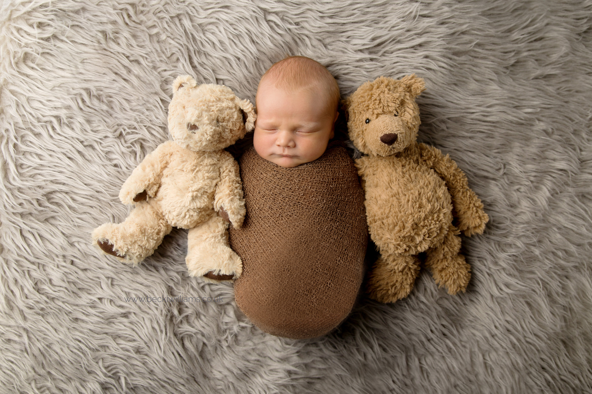 Wrapped sleeping newborn with his teddies - Becki Williams Photography
