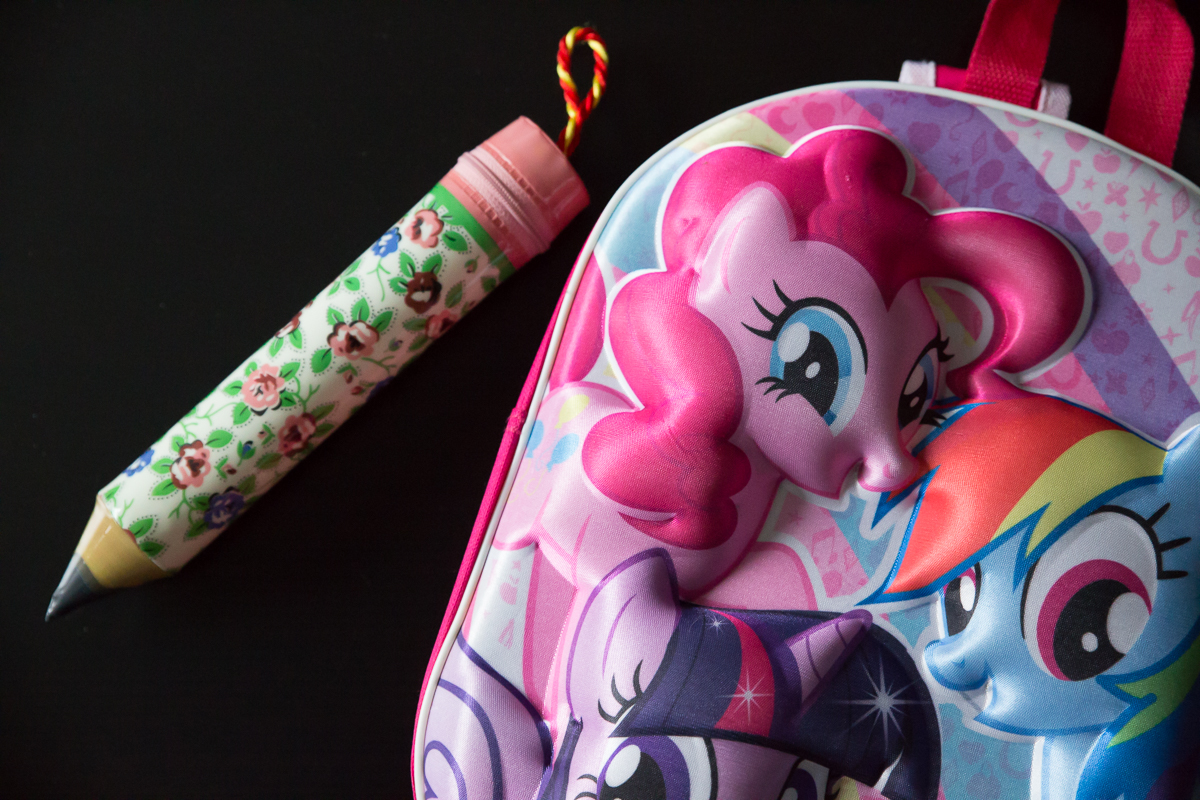 My Little Pony bag and pencil shaped pencil case.