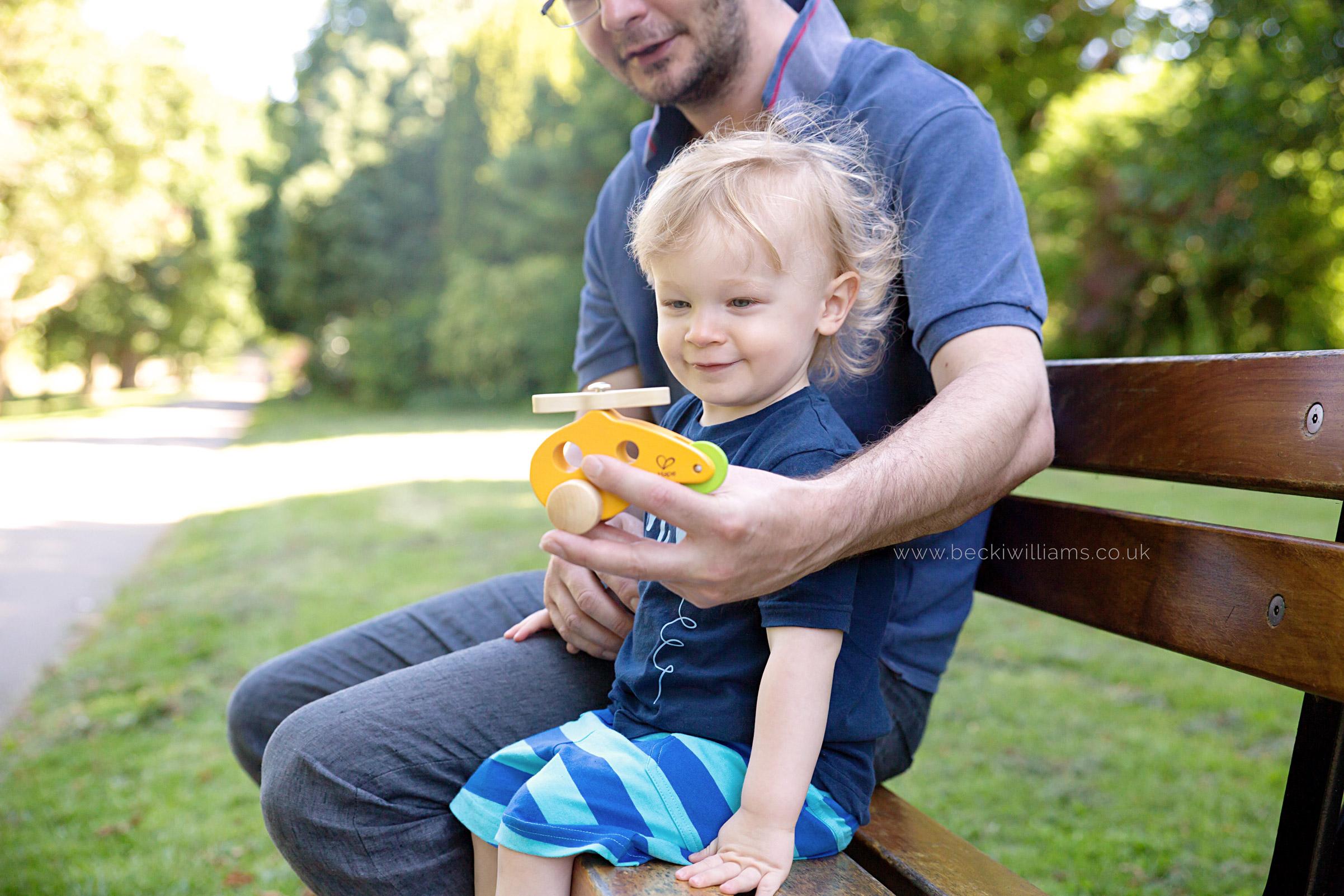 professional photography of 2 year old boy with his dad in gadebridge park, hemel hempstead